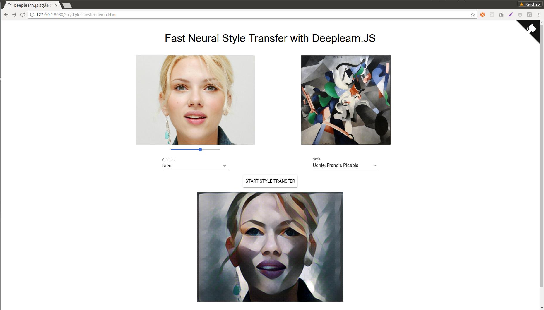 GitHub - reiinakano/fast-style-transfer-deeplearnjs: Demo of
