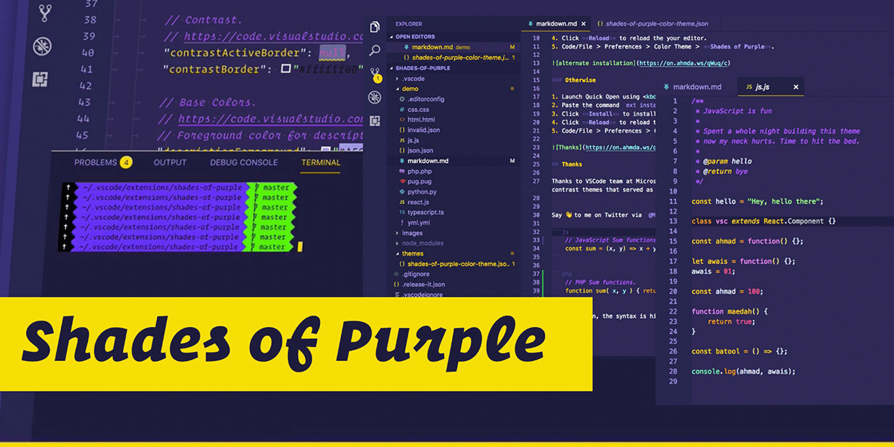GitHub - ahmadawais/shades-of-purple-vscode: 🦄 Shades of