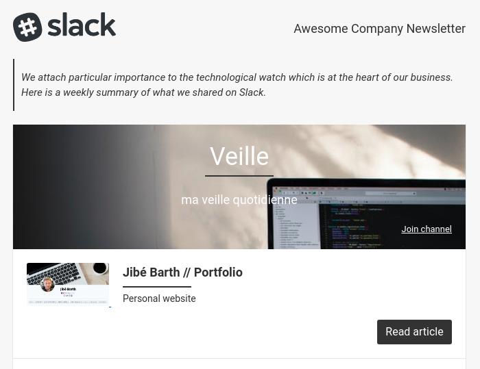 Slack Newsletter Preview