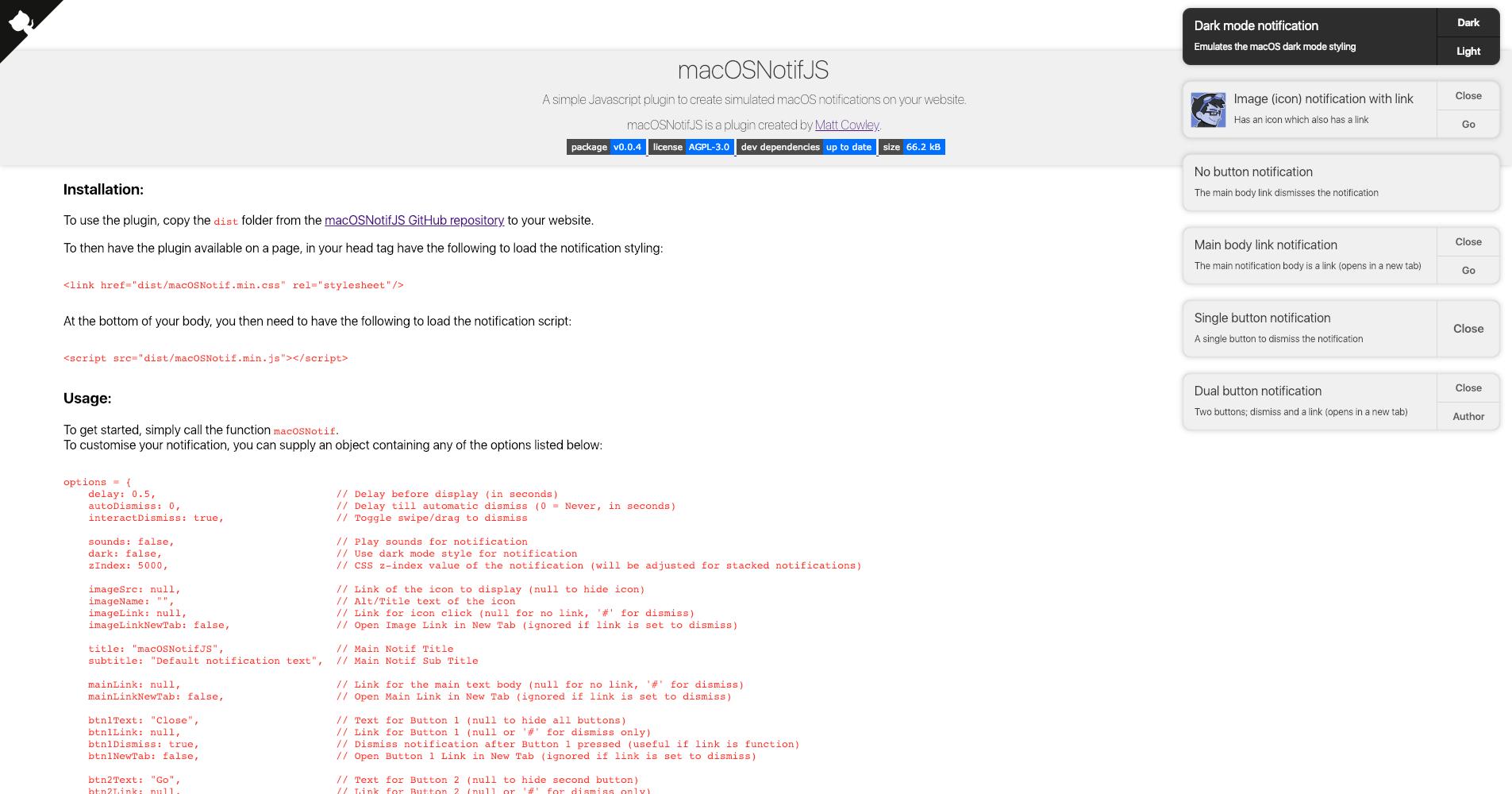 GitHub - MattIPv4/macOSNotifJS: A simple Javascript plugin