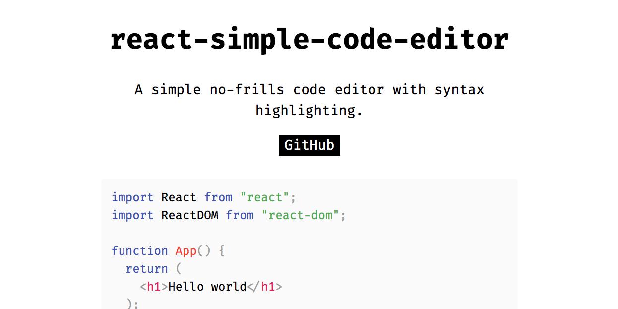 GitHub - satya164/react-simple-code-editor: Simple no-frills code