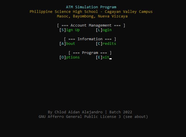 atm program in c