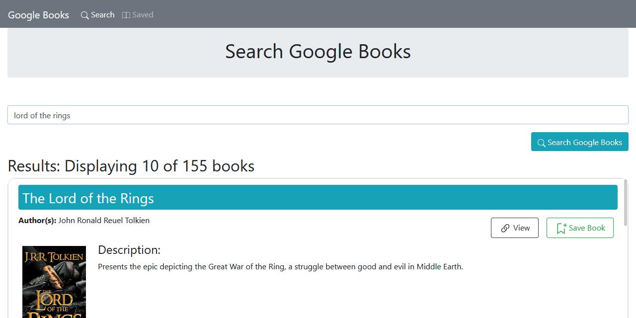 Screenshot of react-books-search