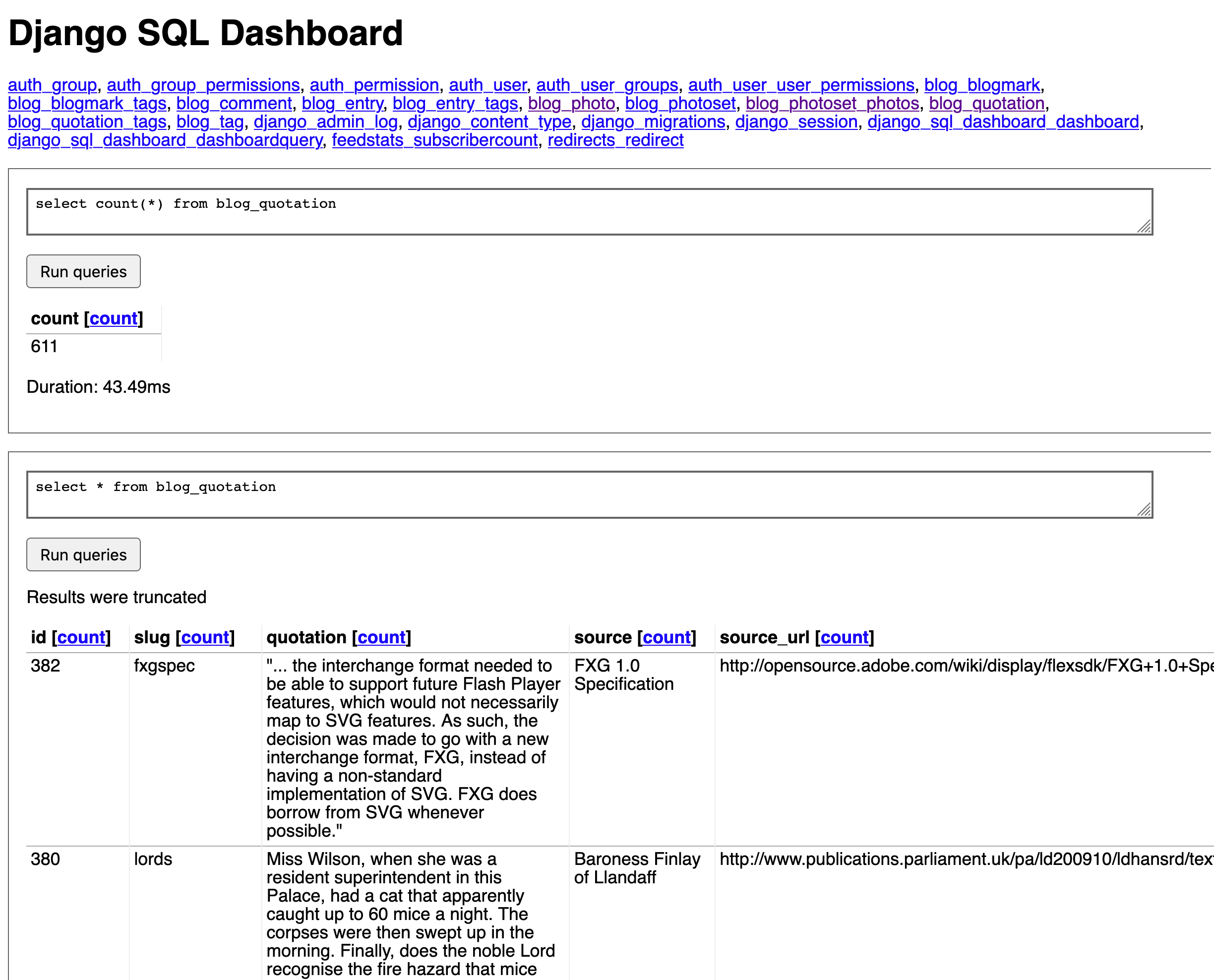 Screenshot of simonw/django-sql-dashboard
