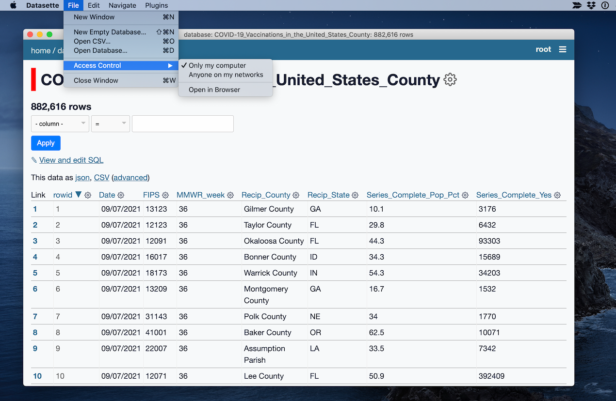 Screenshot of simonw/datasette-app