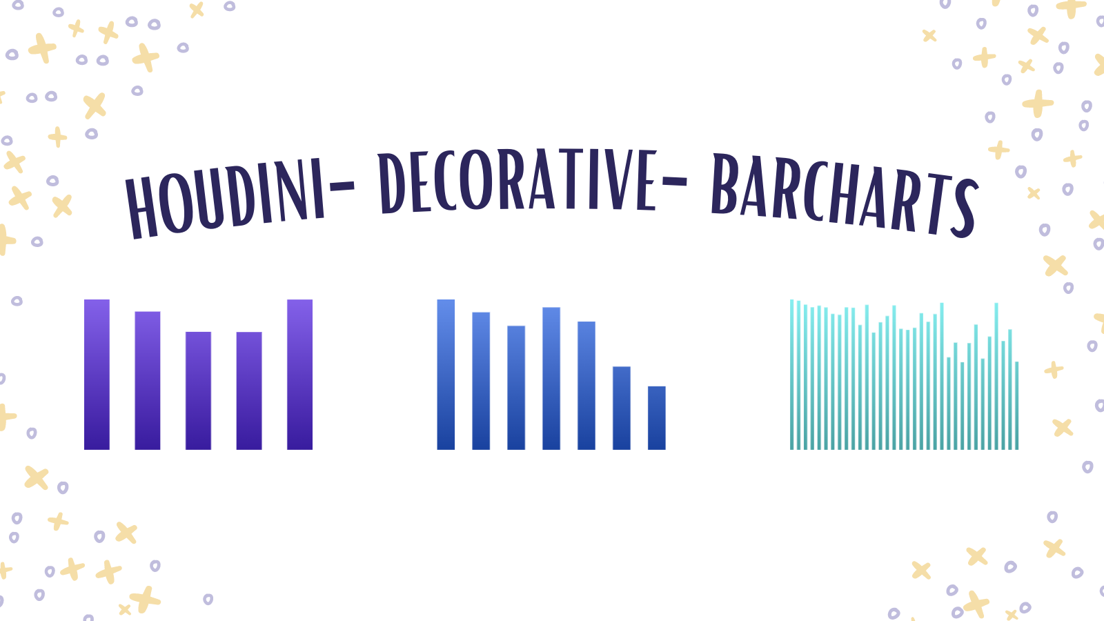 Preview of generated bar charts, in shades of purple, blue, and seafoam with various numbers of bars