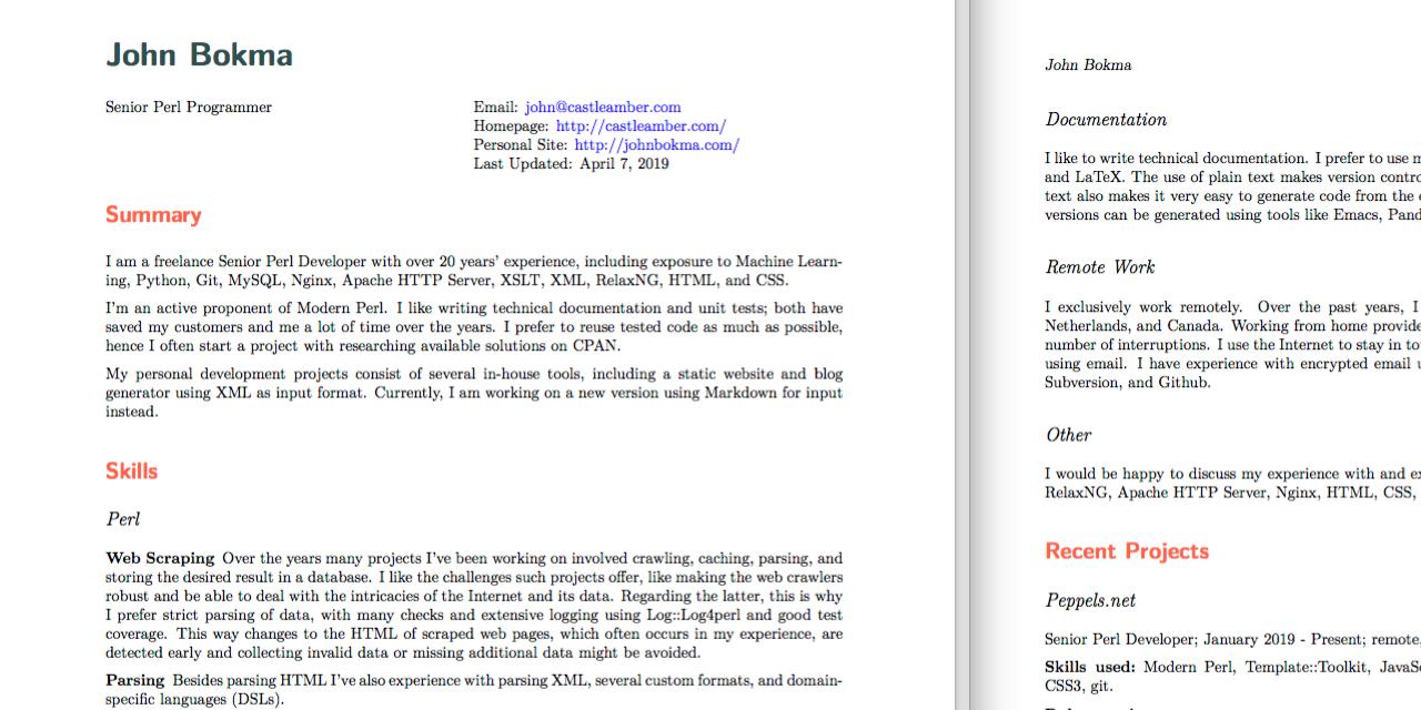 John-bokma/resume-pandoc: LaTeX Resume Template For Pandoc Based On Jason R. Blevins